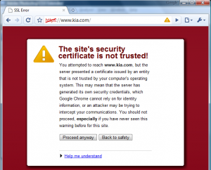 Chrome TLS invalid certificate warning