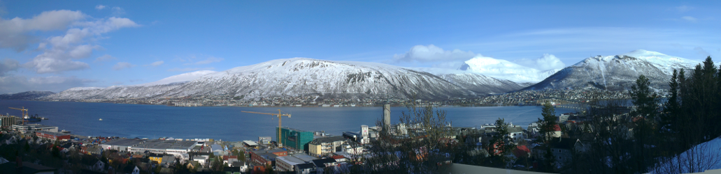 A panorama of Tromsdalen in spring